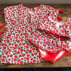 Cat & Jack Strawberry Bikini and Cover up, sz 5T